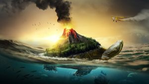 Image of turtle with an erupting volcano on the shell